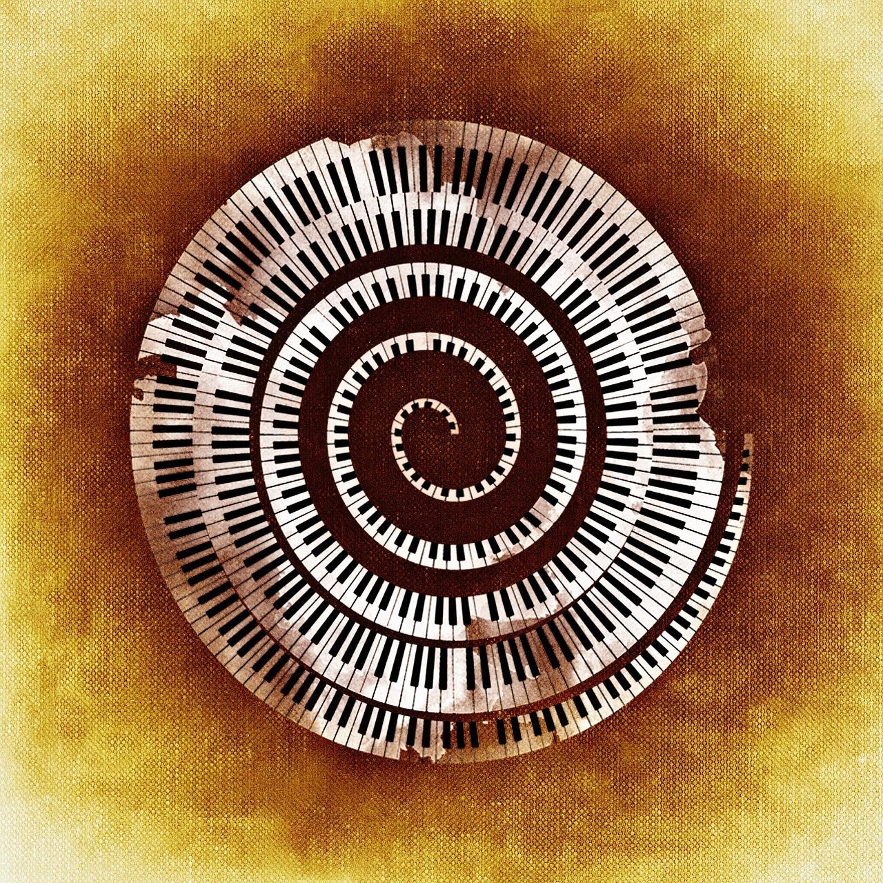 Spirale aus Klaviertasten