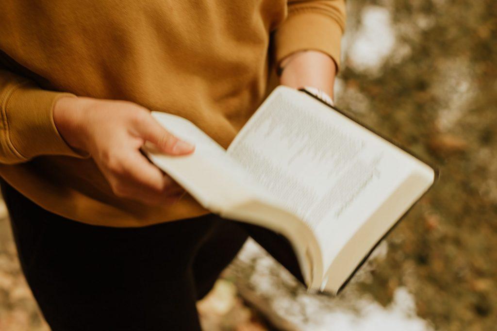 Person liest in einem aufgeschlagenen Buch
